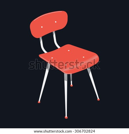Vector stylish vintage industrial age chair | Interior furniture element red stool isolated on black background - stock vector