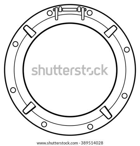 vector stylized black and white boat window symbol - stock vector