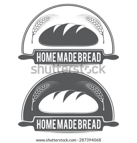 Vector stylized black-and-white logo for the bakery, featuring wheat bread and a rolling pin. - stock vector