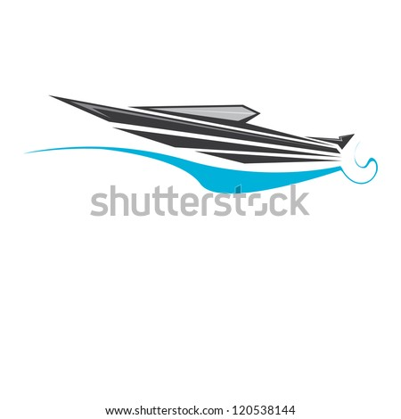 vector stylized black yacht icon. fast fishing boat. motor boat on white. - stock vector
