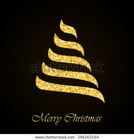 Vector Stylized Christmas tree gold glitter greeting card background  - stock vector