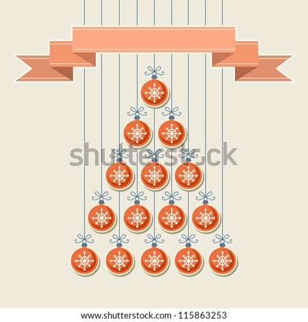 Vector stylized christmas tree made from red balls with snowflakes and banner. Original holiday invitation and greeting card. Vintage winter light background. Abstract drawing decorative illustration
