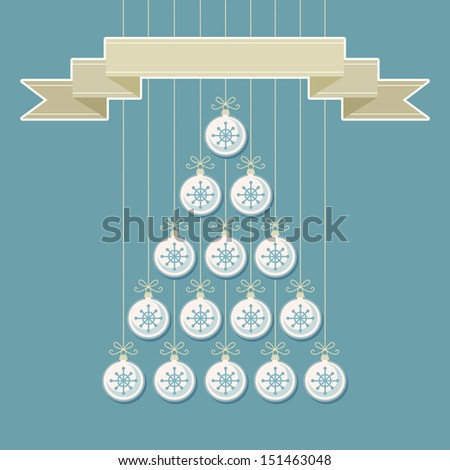 Vector stylized christmas tree made from white balls with snowflakes and banner. Original holiday invitation, greeting card. Vintage winter light background. Abstract drawing decorative illustration