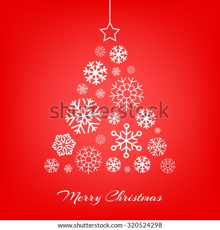 Vector stylized Christmas tree made from white snowflakes on red background. Merry Christmas greeting card. - stock vector