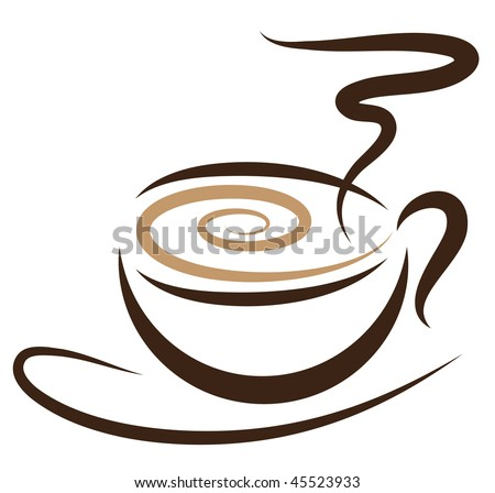 Vector stylized cup of coffee icon. - stock vector