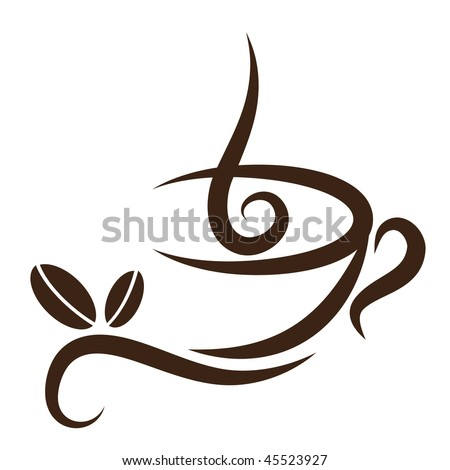 Vector stylized cup of coffee icon with beans. - stock vector