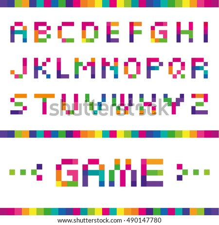 Vector stylized font of the full-color pixel gamer