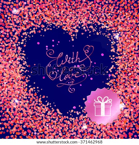 vector stylized frame in shape of a heart made of tiny pink confetti - stock vector