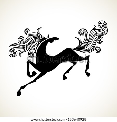 Vector stylized galloping horse with a mane and tail waving. Symbol of new year 2014 in Chinese calendar. Black and white decorative cute illustration for print, web - stock vector