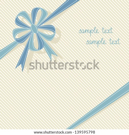 Vector stylized gift box with blue ribbon and bow in form of flower. Festive retro background for invitation, greeting card. Abstract holiday decorative cute illustration with text box for print, web - stock vector