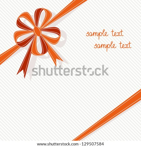 Vector stylized gift box with red ribbon and bow in form of flower. Light festive background for invitation, greeting card. Simple abstract holiday decorative illustration with text box for print, web - stock vector