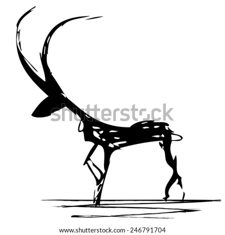 vector stylized illustration of antelope in black and white colors - stock vector