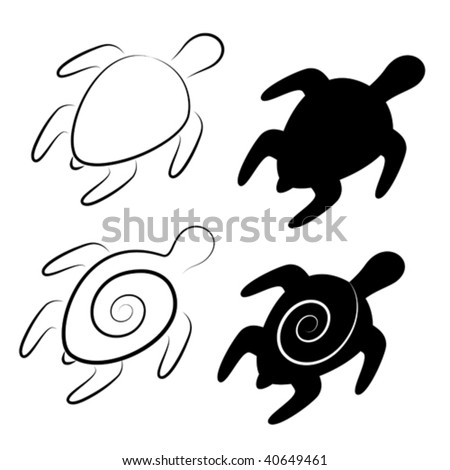 vector stylized illustrations of turtles in black and white