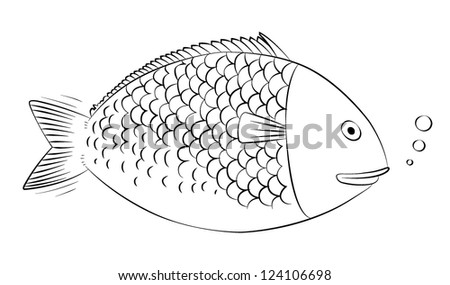Vector stylized image of sea-fish on white background. - stock vector