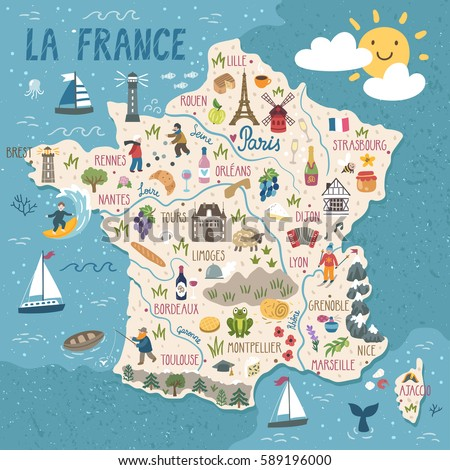 Vector Stylized Map France Travel Illustration Stock Vector Royalty - Limoges france map