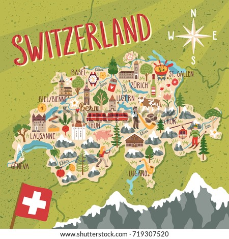 Vector Stylized Map Switzerland Travel Illustration Stock Vector