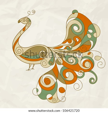vector stylized peacock with detailed feathers on crumpled paper texture, eps 10, mesh