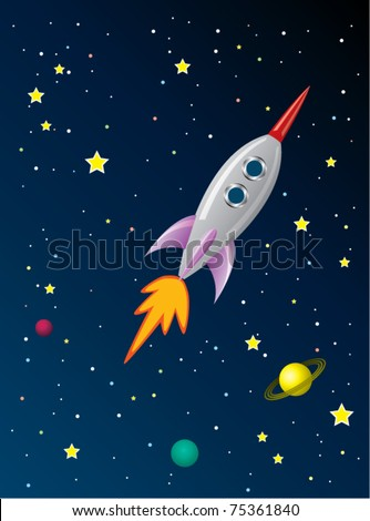 vector stylized retro rocket ship in space - stock vector