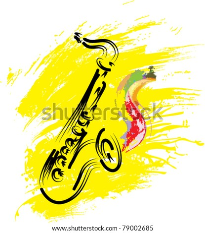 vector stylized saxophone on grunge background