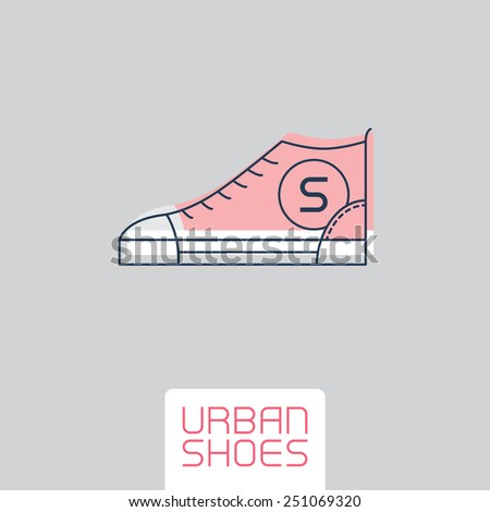 Vector Stylized sneakers. Outline urban shoes. Sport icon, design element or logo in line style. - stock vector