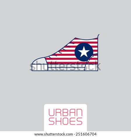 Vector Stylized sneakers with American flag colors and symbol. Outline urban shoes. Sport icon, design element or logo in line style. - stock vector