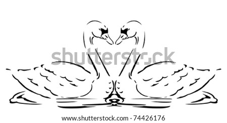 Vector Stylized Swans in love - stock vector