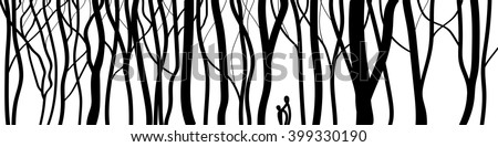 Vector. Stylized tree, Silhouettes of trees.