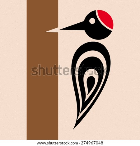 Vector stylized woodpecker icon with tree creative card - stock vector