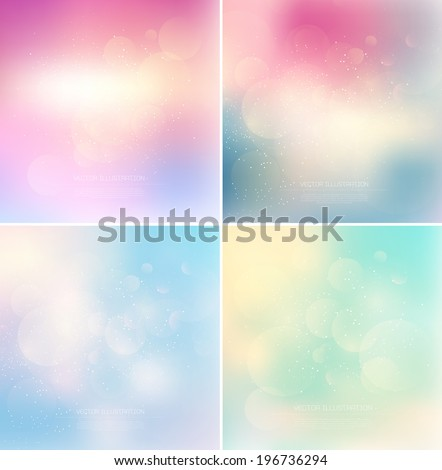 Vector subtle blurry glowing bokeh backgrounds with glitter. Eps10 backdrops collection - stock vector