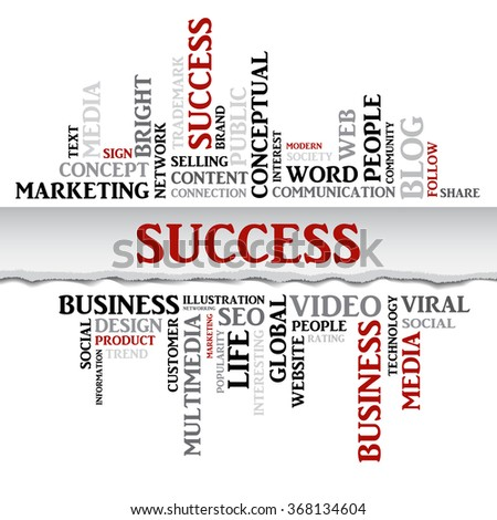 Vector SUCCESS concept related words in tag cloud isolated on white, business concept, internet, trade. The effect of torn paper  - stock vector