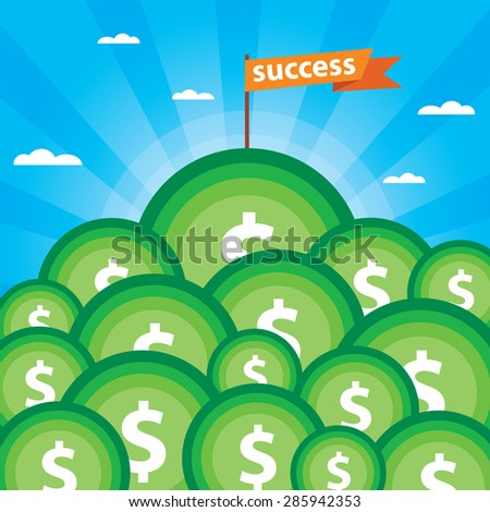 Vector success or leadership concept with mountainous money