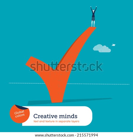 Vector successful woman standing on ok sign. Vector illustration Eps10 file. Global colors. Text and Texture in separate layers. - stock vector