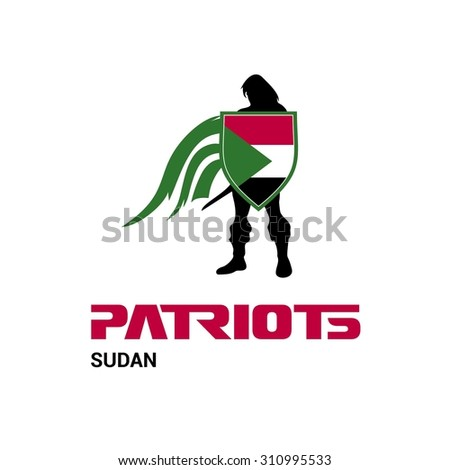 Vector Sudan Flag Patriots Soldier Logo. Mascot Character Design. Memorial Day Army man with Shield. Vector Freedom Leader Logo illustration