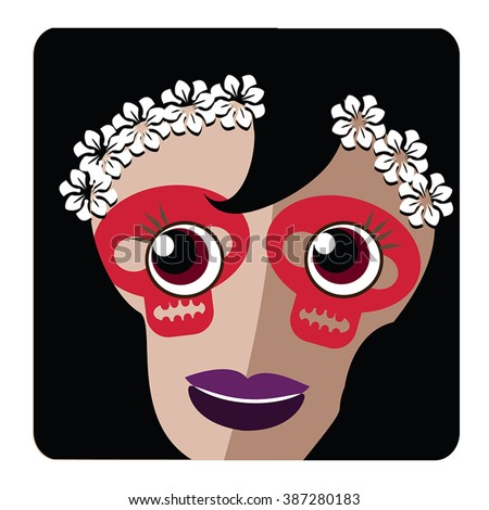 Vector Sugar Skull icon  - traditional mexican Catrina as avatar, square button, badge, banner, label. Beauty smile on face with bloody sculls make up and white flowers bride wreath.Day of the dead.
