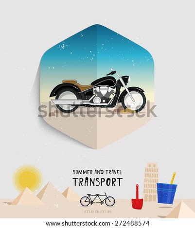 Vector summer and travel transport icon. Flat style. Motorcycle logo illustration. Summer background beach. Sand pyramids, Leaning Tower of Pisa. Children shovel and bucket. - stock vector