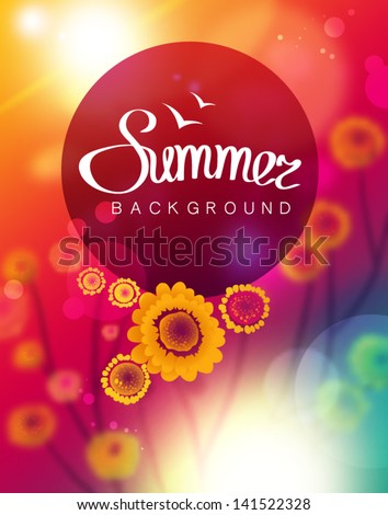 Vector summer background - stock vector