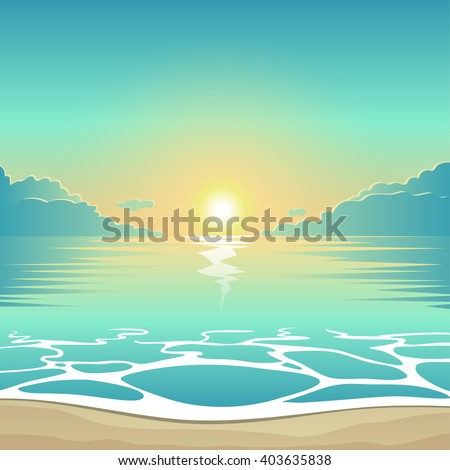 Vector summer background illustration beach at sunset with waves and clouds, seaside view poster - stock vector