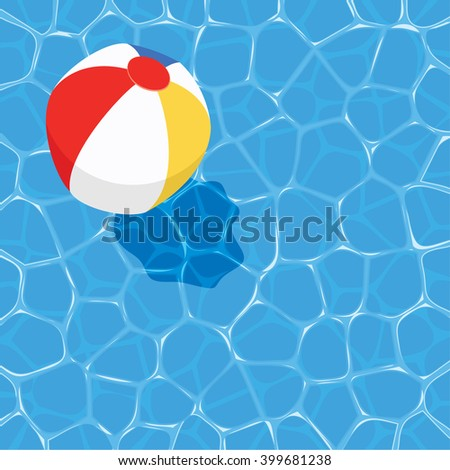 vector summer background with ball floating on water - stock vector