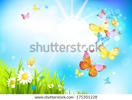 Vector summer background with flowers and butterflies. Positive summer illustration. - stock vector