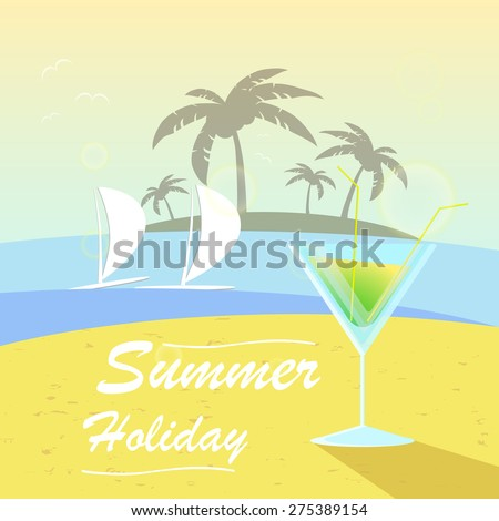 Vector summer background with holiday elements.