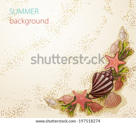 vector summer background with seashells and starfish on the beach - stock vector