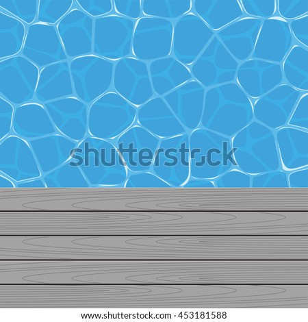 vector summer background with swimming pool water and wooden deck - stock vector