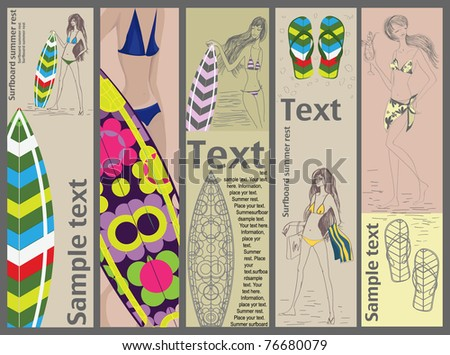 Vector summer banners with beautiful girls and surfboards - stock vector