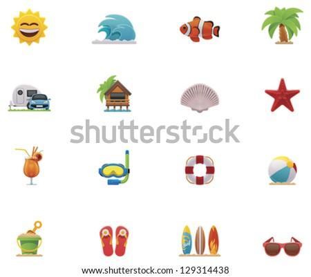 Vector summer beach and seaside recreation activity icon set - stock vector