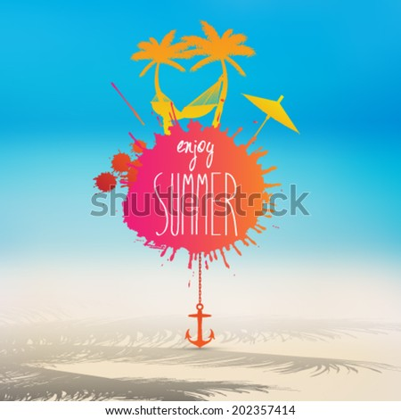 Vector summer beach illustration stain with hammock and palm trees - stock vector