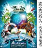 Vector Summer Beach Party Flyer Design with disco ball and shipping elements on tropical background. Eps10 illustration. - stock vector