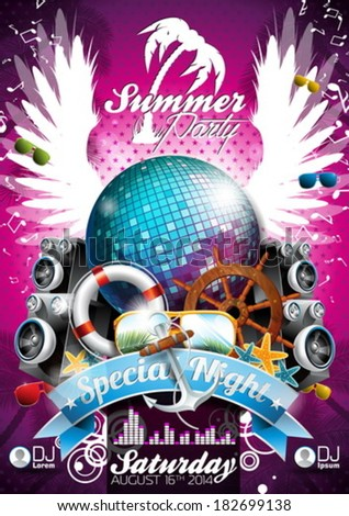 Vector Summer Beach Party Flyer Design with disco ball and shipping elements on tropical background.  - stock vector