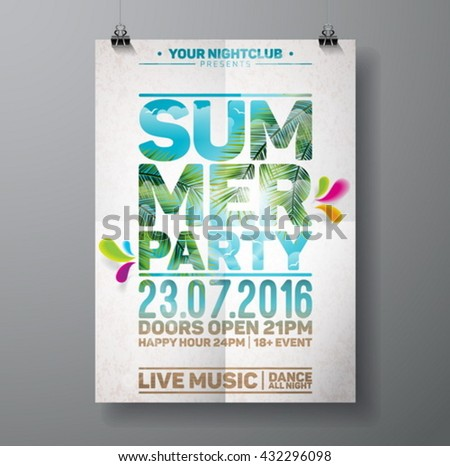 Vector Summer Beach Party Flyer Design with palm leaves and typographic elements on ocean landscape background. Eps10 illustration. - stock vector