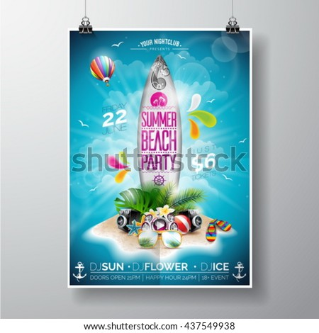 Vector Summer Beach Party Flyer Design with surf board and paradise island on ocean landscape background. Typographic design on board. Eps10 illustration. - stock vector