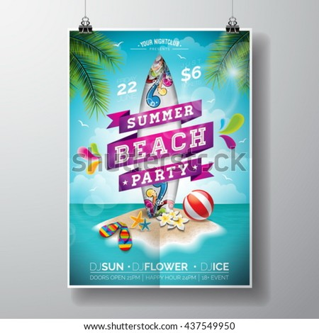 Vector Summer Beach Party Flyer Design with surf board and paradise island on ocean landscape background. Typographic design on banner. Eps10 illustration. - stock vector